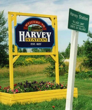 Harvey, New Brunswick - Welcome sign at the northern limit of the Village of Harvey
