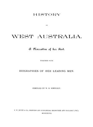 History of West Australia - Frontispiece