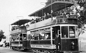 Trams in Hobart - wo Hobart double-deck trams clearly showing how exposed the upper decks were to the elements.