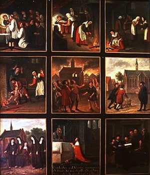 Stille Omgang - A painting with nine panels telling the story of the miracle.
