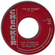 "Label of ""I'm So Young"" 45 single on Checker Records"