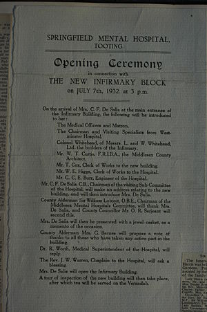 Springfield University Hospital - Info card for ceremony opening the New Infirmary block on July 7, 1932.