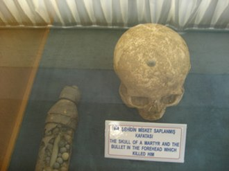 Kabatepe - Skull of a soldier with bullet hole in forehead (courtesy of anatoliatravels.com)