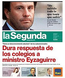 Front page of La Segunda '​s 4 June 2014 edition.