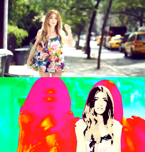 Lucky Day (Nicola Roberts song) - The music video features Roberts performing in the East Village in New York City, while special effects changed the tone throughout the music video.