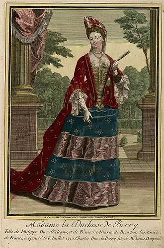 Marie Louise Élisabeth d'Orléans - Colored engraving of the Duchess of Berry.