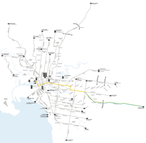 Melbourne tram route 75 - Image: Melbourne trams route 75 map