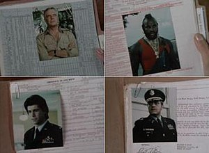 "Mexican Slayride - Files on (clockwise from top): John ""Hannibal"" Smith, Bosco ""B.A."" Baracus, Col. Lynch and Templeton ""Faceman"" Peck."