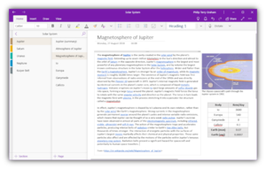 Notes being created and organised in the OneNote UWP app, running on Windows 10