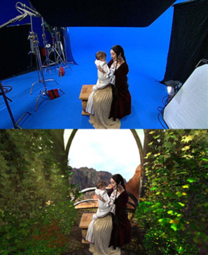 Myst III: Exile - Two images displaying the game's characters. The top image shows the actors in front of blue screens, while the bottom image shows the same actors in front of computer-generated scenes.