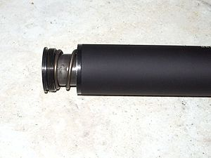 Muzzle booster - Image: Nielsen device of YHM Cobra .45 suppressor partially removed