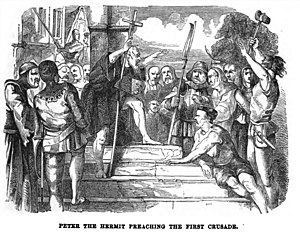 Rhineland massacres - Peter the Hermit preaching the First Crusade, as cited in the 1851 Illustrated London Reading Book