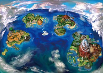 Pokémon Sun and Moon - The Alola Region comprises several islands of varying sizes; from left to right: Exeggutor Island, Poni Island, Melemele Island, Akala Island, and Ula'ula Island. The white structure just south of Melemele is the very large floating structure Aether Paradise.