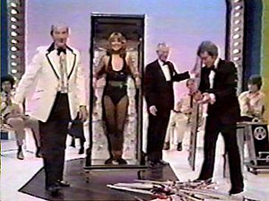 Radium Girl - Magician Jeffrey Atkins and Paul Daniels performing The Radium Girl with an assistant called Jackie on The Paul Daniels Magic Show