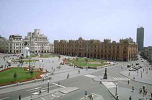 Plaza San Martín (Lima) - View of the Plaza San Martín from the Bolívar Hotel