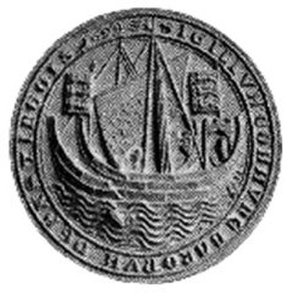 Cinque Ports - SIGILLUM COMMUNE BARONUM DE HASTINGUIS, common seal of the barons of Hastings. 2 standards can be seen flying from the ship: one showing the Plantagenet arms of 3 lions, the other seemingly showing 3 ships, which arms are combined by dimidiation in the arms of the Cinque Ports