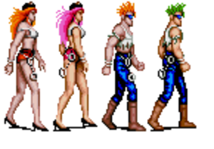 Final Fight (video game) - Roxy and Poison (first two from left), as depicted in the Japanese Super Famicom port, were replaced with Sid and Billy (third and fourth) in the international SNES versions of the game.