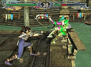 Soulcalibur III - A gameplay screenshot of  Soulcalibur III, showing Taki attempting to throw Tira out of the ring through a destructible barrier