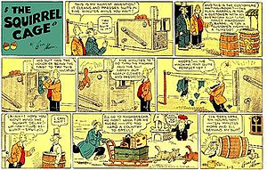 Comic strip - Gene Ahern's The Squirrel Cage (January 3, 1937), an example of a topper strip which is better remembered than the strip it accompanied, Ahern's Room and Board.