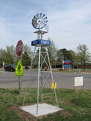 Clearwater, Kansas - Typical windmill street sign found throughout Clearwater