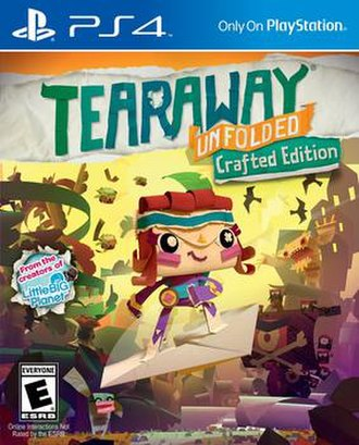 "Tearaway Unfolded - Cover art for the ""Crafted Edition"" of Tearaway Unfolded, featuring the female protagonist Atoi"