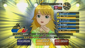 The Idolmaster (video game) - An example of Miki during an audition. The player must gain points in each image category to appeal to the judges, whose interest gauges are displayed on the left.
