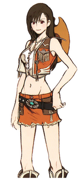 A girl at an angle to the viewer, with an orange cowboy-type miniskirt and midriff-baring shirt. A cowboy hat is strapped to her back.