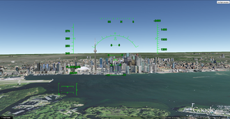 Downtown Toronto as seen from an F-16 Fighting Falcon during a simulated flight Toronto downtown.png