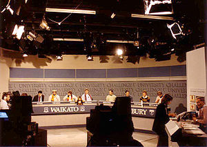 University Challenge (New Zealand TV series) - Waikato and Canterbury get set to face the questioning of Peter Sinclair (far right) during the 1986 series