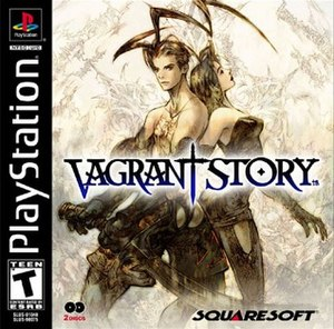 """Vagrant Story - The """"Summer of Adventure"""" NA release cover, with the """"2-discs"""" icon on the bottom-left."""