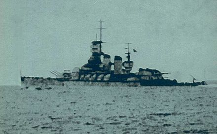 Vittorio Veneto withdraws from the battle area after being torpedoed by RN aircraft. Veneto sailing out of the battle area.jpg