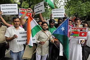 Hindu Sena - Hindu Sena President Vishnu Gupta seen with Indian and Balochistan flag