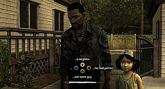 "The Walking Dead (video game) - A screenshot showing dialog choices. At certain points in the game's conversation trees, the player will have a limited amount of time to respond, shown at the bottom of this screen. If they don't respond in time, the game will default to the ""no statement"" (ellipses) option."