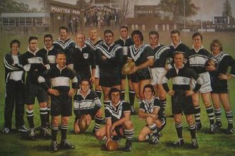Western Suburbs Magpies - This painting of the Western Suburbs Magpies Team of the Century hangs in Wests Ashfield Leagues Club.