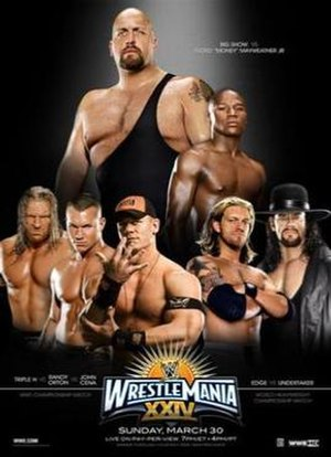 WrestleMania XXIV - Promotional poster featuring Floyd Mayweather Jr. and Big Show, among various WWE wrestlers