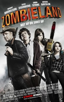 "Poster for Zombieland with subtitle ""Nut up or shut up"" and movie credits: The four actors appear as a group all holding different weapons."