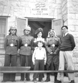 Ruth Gruber - The Arab Legion post at the Allenby Bridge, 1946. Gruber was the first journalist to enter the newly established Hashemite Kingdom of Jordan
