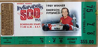 1990 Indianapolis 500 - 1990 Indy 500 ticket stub.
