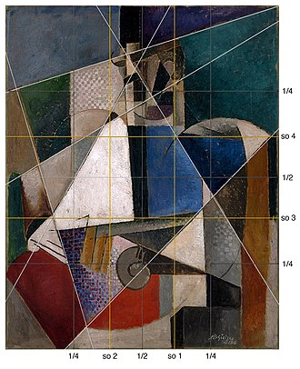 Portrait of an Army Doctor - Albert Gleizes, Portrait of an Army Doctor, structural schematic overlay showing the Golden section, or Section d'Or (yellow lines), quarter grid (grey lines) and principle geometric structure lines (white lines).