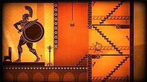 Apotheon - A screenshot of Apotheon, with the player character Nikandreos on the right.