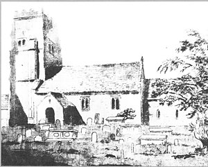 """Alveston - Alveston Old Church of St Helen's, next to Alveston Manor (now called """"Old Church Farm""""), Rudgeway. The church is now ruined, with only tower and south wall of nave remaining"""