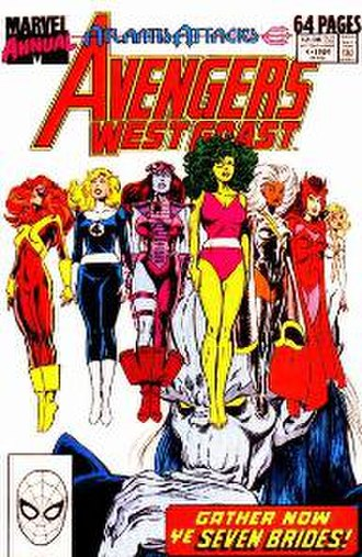 """Atlantis Attacks - Ghaur abducted seven superheroines, who became his """"Brides of Set"""": Jean Grey, the Invisible Woman, Andromeda, She-Hulk, Storm, Scarlet Witch, and Dagger"""