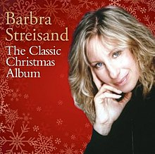 Barbra Streisand appears amidst a red background with snowflakes.