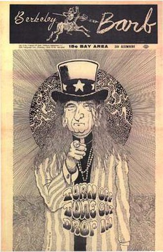 Berkeley Barb - Berkeley Barb, vol. 5, no. 9 (1967), depicting Lyndon Johnson dressed as Timothy Leary.
