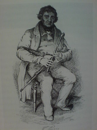 Pastoral pipes - An engraving of Billy Purvis (1784-1853) one of the last travelling minstrel pipers of the south of Scotland and the North East of England. Playing a Union pipe early-19th century.