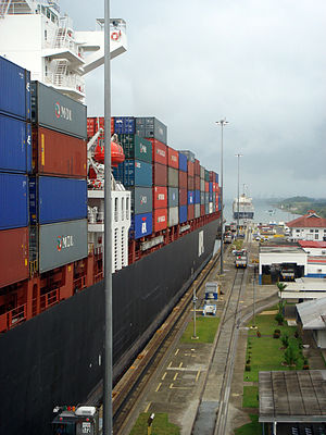Panamax Container Ship in Panama Canal, Gatun
