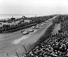 Cars Racing Down A1a At The 1956 Race
