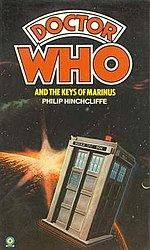 Book cover, featuring the TARDIS flying above the planet of Marinus.