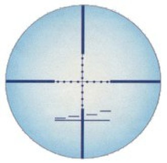 Telescopic sight - A typical (stadiametric) rangefinding reticle used by military snipers. The Mil-dots can be seen on the cross hairs. The four horizontal bars over the horizontal line are also intended for (quick) ranging purposes.