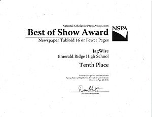 Emerald Ridge High School - 2015 National Scholastic Press Association Best of Show Award for JagWire